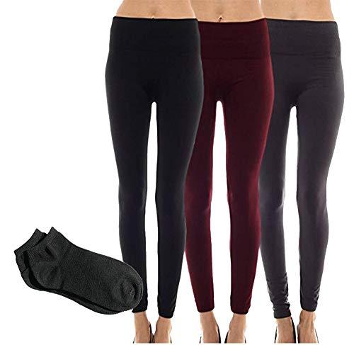 Sofra Women's Classic High Waisted Wide Band Yoga Fleece and Regular Value Pack Leggings (Plus Size (XL-3XL), 3 Pack: Black Charcoal&Wine Fleece Leggings w/Free Socks)