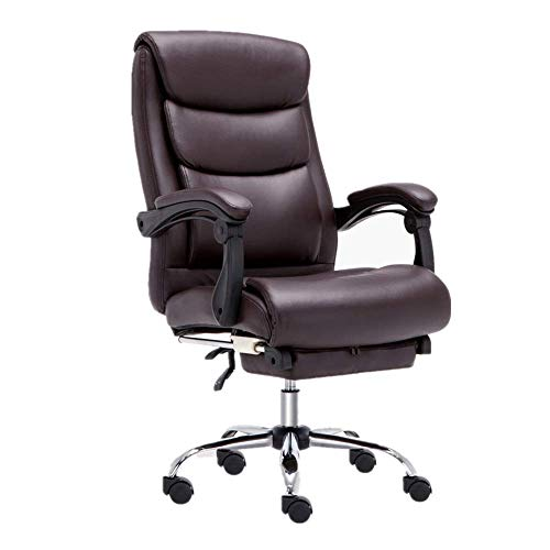HYY-AA Silla de oficina Silla de oficina ejecutiva con reposapiés jefe de sillón reclinable Durante la almuerzo E-Sports Telesilla silla de escritorio silla de la computadora (Color: Marrón, Tamaño: 5