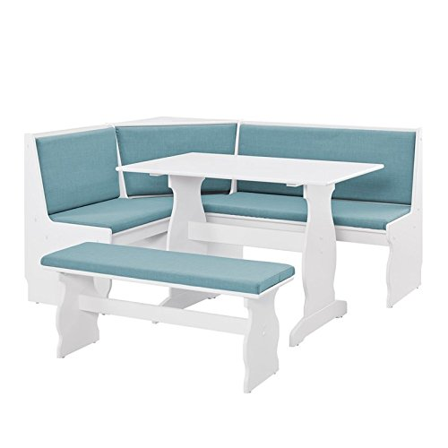 Riverbay Patio Conversation Kitchen Breakfast Corner Nook Table Booth Bench Dining Set in Capri Blue