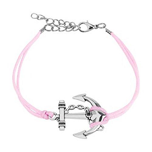 beyoutifulthings Wickel-Armband GROSSER Anker Länge 250mm Breite 2,89mm verstellbar Karabinerverschluss Echt-Leder Edelstahl Seil Maritim pink
