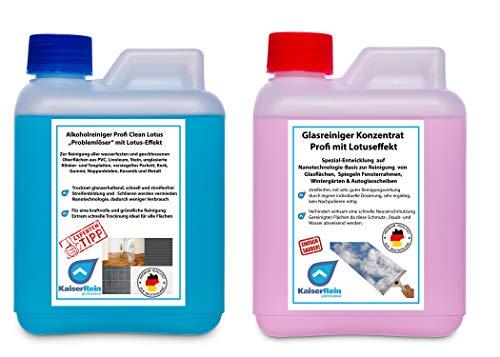 KaiserRein Glasreiniger Konzentrat mit Lotuseffekt 0,5 L (500ml) und Alkoholreiniger Profi Clean Lotus mit Lotuseffekt/Abperleffekt Konzentrat 500 ml SET