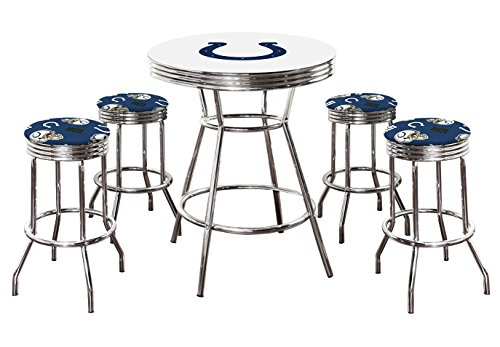 """5 Piece White Pub/Bar Table Set with 4 – 29"""" Swivel Stools Featuring Your Favorite Football Team Logo Fabric Covered Seat Cushions! (Colts)"""