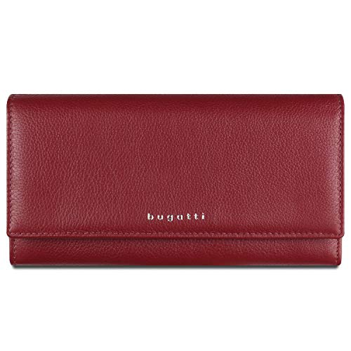 Bugatti Lady Top Geldbörse Damen Groß viele Fächer Leder 17CC - Portemonnaie Damen Leder - Portmonee Geldbeutel Damengeldbörse - Rot