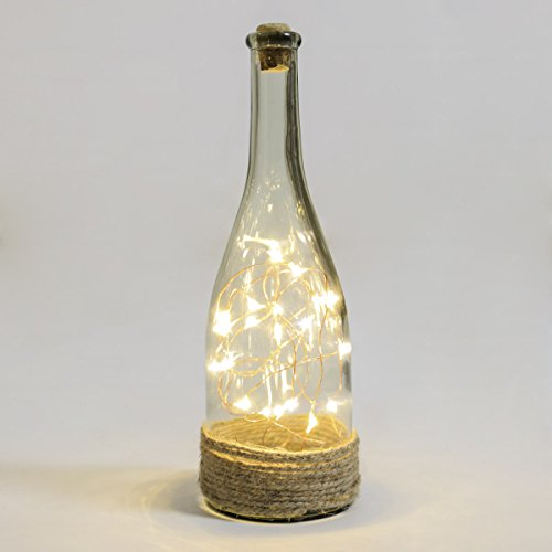 Festive Lights batteriebetriebene Deko Glas Flasche – mit Mikro LEDs in warmweiß, auf kupferfarbenen Draht angebracht