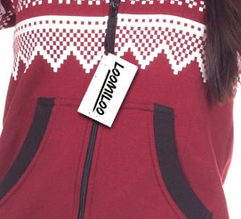 Loomiloo® Jumpsuit Freizeitanzug Overall Hausanzug Einteiler Strampler Body Anzug Jumpsuits Overalls Pyjama Norweger Muster (Weinrot) - 4
