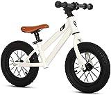 Bicicleta de equilibrio para niños de 2 a 6 años de edad, niños y niñas, marco de acero al carbono, sin pedal, para caminar, equilibrio, bicicleta de entrenamiento para niños pequeños (color blanco)