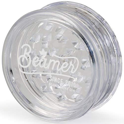 Beamer Crown Logo 3-Piece 63mm Acrylic Grinder - Transparent Clear Color + Beamer Smoke Sticker