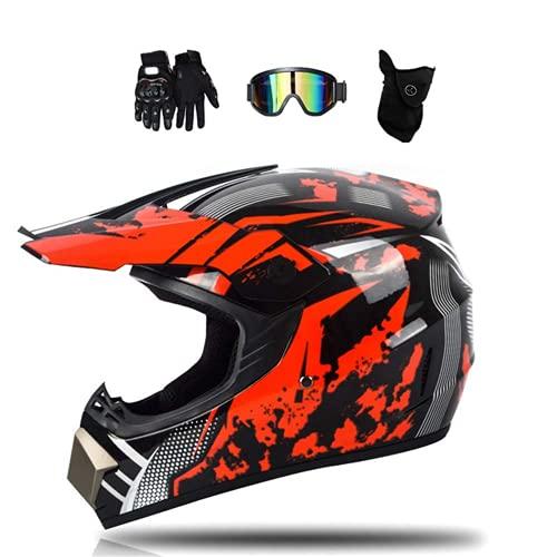 Auriculares Adultos del Motocrós del Niño (Gafas/Guantes/Máscara / 4Pcs / Negro Y Rojo) Hombre Auricular Integral Motocicleta BMX Quad Enduro ATV Scooter, Certificado Dot Certified,XL