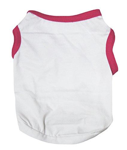 Petitebelle Pet Supply Hot Roze Wit Katoen T-Shirt Hond Jurk, X-Large, roze