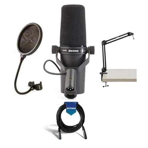 Shure SM7B Cardioid Dynamic Studio Vocal Microphone, with Standard and Close-Talk Windscreens - Bundle with Samson 28in Mic Boom Arm Stand, Samson PS04 Pop Filter, 20' HD 7mm Rubber XLR Mic Cable