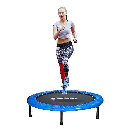 New-Bounce Mini Trampoline - 40' Foldable Trampoline for Children and Adults - Fitness Rebounder Trampoline - Holds Up to 220 Lbs.