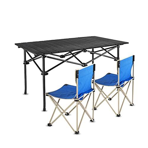 BBGS 2 Silla Mesa de Camping Cuadrada, Mesa de Picnic de Aluminio Plegable Mesa de Barbacoa Portátil Enrollar la Parte Superior con Bolsa de Transporte (Color : B, Size : 94x55x50cm)