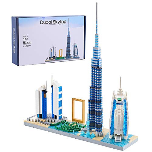 YaJie Architecture Dubai Skyline Model Building Set Model Kit and Gift for Kids and Adults ,Micro Blocks 2545 Pieces (2021 New,with Color Package Box)