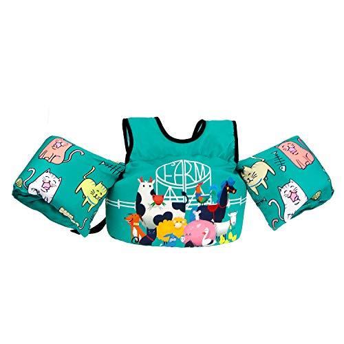Rrtizan zwemvest voor peuters, met armbanden, zwemapparaat voor kinderpoetstruien, opvouwbare zwemtrainingshulp voor jongens, meisjes, 2-5 jaar, 14-30 kg