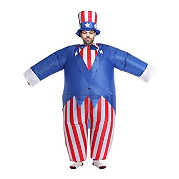 IFUNDOM 1 Set of Inflatable Suit Uncle Sam Shaped Costume Adult Performance Props Inflatable Patriot Costume for Halloween Christmas Independence Day  As Shown  for 4th of July Home Decor
