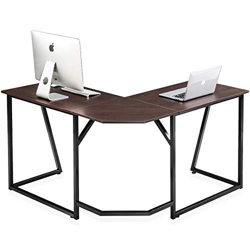 FITUEYES L-Shaped Escritorio esquinero Mesa Ordenador para Oficina u Hogar Color Nogal 125 * 125 * 75cm LCD112501WB