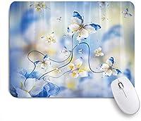 EILANNAマウスパッド ドリームブルーホワイトバタフライ ゲーミング オフィス最適 高級感 おしゃれ 防水 耐久性が良い 滑り止めゴム底 ゲーミングなど適用 用ノートブックコンピュータマウスマット