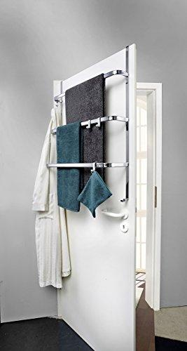 Metall Tür-Aufbewahrung | verchromt | ohne Bohren | 2-Wege Bauart | Handtuchhalter mit 4 Haken / 3 Stangen - Hängeregal | universell passend für alle gängigen Türen (Silber - verchromt)