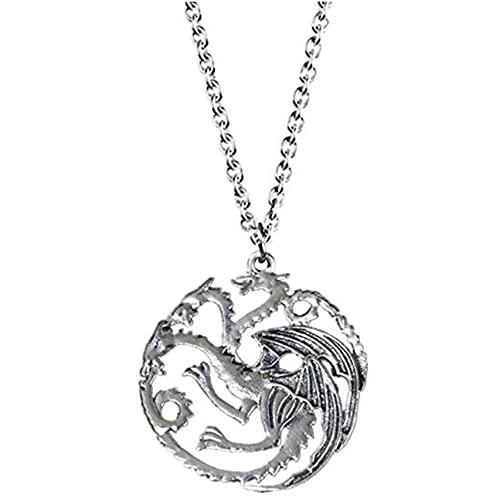 Black Sugar - Collar punk vikingo para disfraz, diseño de cabeza de lobo y dragón de bruja, plata, Talla única