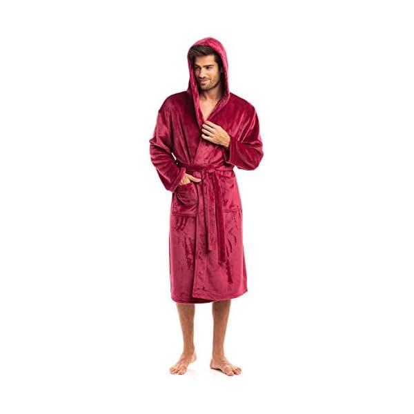 Thread Republic Luxurious Men's Plush Fleece Robe with Hood Warm & Cozy Bathrobe
