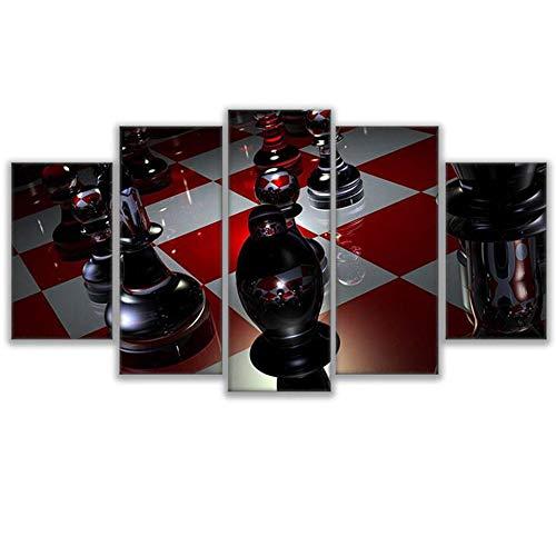 aicedu Yuanyuan Art Wall Painting 5 Panel Malerei Poster Wand Kunst Schach rot und weiß Schachbrett Wohnkultur Modulare Bild Leinwand Kunst Malerei Home ohne Rahmen Moderne HD Gedruckt200X100CM