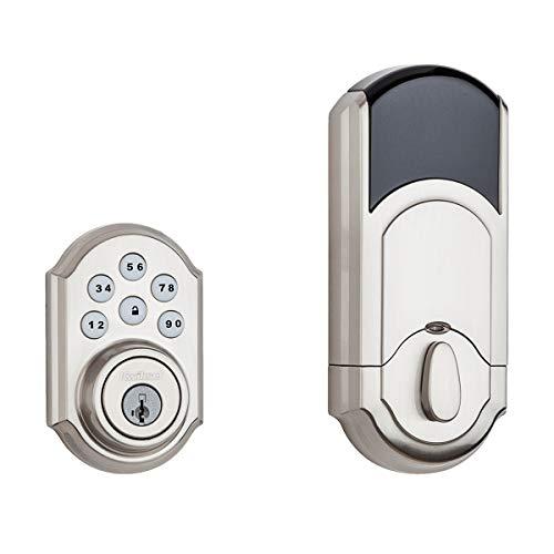 Kwikset 99100-078 SmartCode 910 Traditional Smart Keypad Electronic Deadbolt Door Lock with SmartKey Security and Z-Wave Plus, Satin Nickel