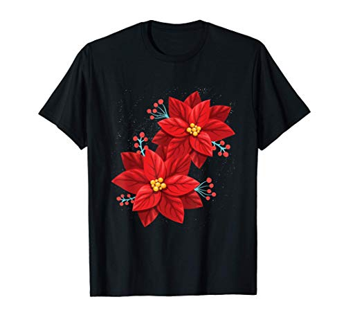 Red Poinsettia - Merry Christmas Flower - Happy Xmas Gift T-Shirt