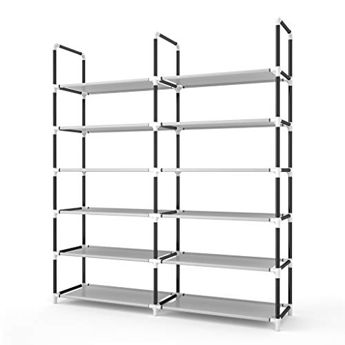 Awenia Shoe Rack 6 Tier, Durable and Stable Shoe Organizer 30 Pairs Space Saving Shoe Tower Shoe Shelf for Closet Entryway Hallway, Non-Woven Fabric, Gray
