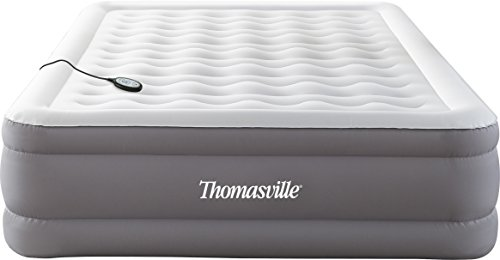 Thomasville Adjusta Comfort Pillow Top Inflatable Air Mattress: Raised-Profile Air Bed with Internal Pump, Queen