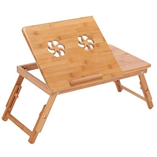 ZFLL Picknick klaptafel en stoelen Bamboe Laptop Tafel Verstelbare Computer Bureau Voor Sofa Bed Folding Draagbare Laptop Tafel Met Koeling Ventilator Notebook Stand Tafel