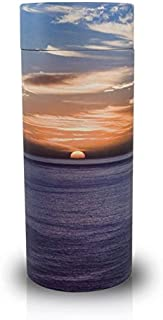 Ocean Sunset Paper Biodegradable Urn for Spreading Ashes - Large - Holds Up To 200 Cubic Inches of Ashes - Blue Orange Cremation Urn for Scattering Ashes - Engraving Sold Separately