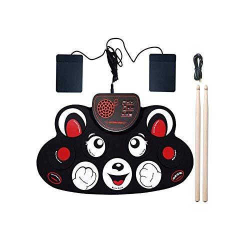 Kompakte elektronische Trommel-Roll-Up Drum Set, bewegliche Karikatur Digital Drum for Kinder, wiederaufladbar mit Stereo-Lautsprecher 0323