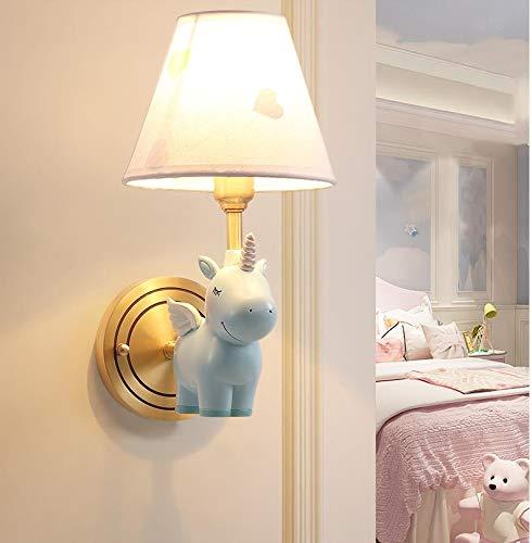 Wandlamp, wandlamp voor slaapkamer, van koper, voor nachtkastje, kinderkamer, eenvoudige wandlamp, eenhoorn-motief, creatief