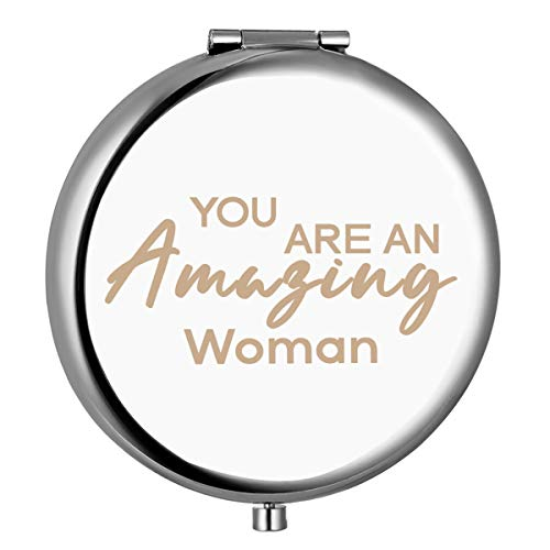 Gift for Friends Women Females,Best Friend Friendship Birthday Christmas Gifts,Inspirational Gift for Her-Engraved Compact Mirror(You are an amazing women)