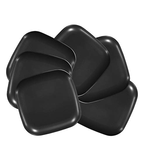 """Bruntmor 10"""" Square Dinner Plates, Ceramic Dinner Dishes That Are Chip Resistant, BPA, Cadmium And Lead Free, Microwave, Oven and Dishwasher Safe (6-piece Set, Matte Black)"""