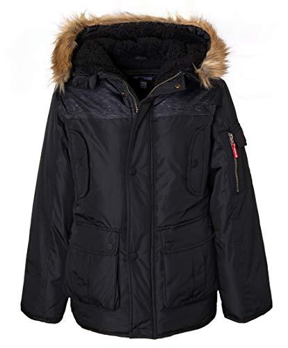 Sportoli Boys' Fleece Lined Hooded Colorblock Winter Puffer Bubble Jacket Coat - Navy/Green (Size 4T)