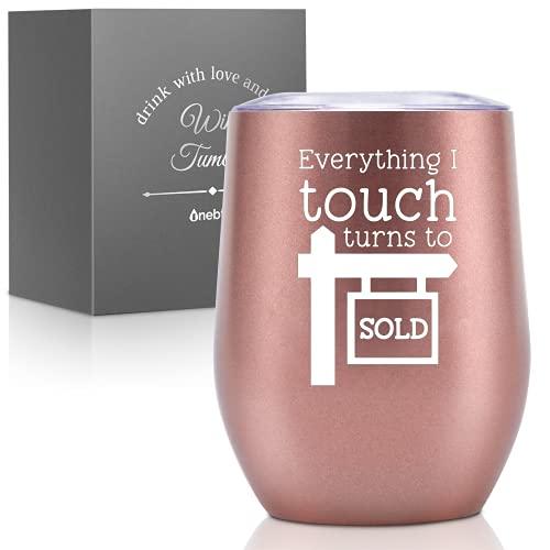Prezenty z realtorem Real Estate dla kobiet - Everything I Touch Turns to Sold kubek na wino lub kawę - pomysł dla agenta nieruchomości, nieruchomości, kobiet, mężczyzn, zamknięty, dom - 350 ml różowe złoto