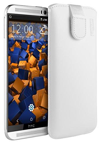 mumbi Echt Ledertasche kompatibel mit HTC One M8 / M8s Hülle Leder Tasche Hülle Wallet, Weiss