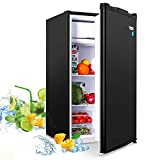 Compact Refrigerator, TECCPO 3.2 Cu.Ft, Energy Star, Super Quiet, Reversible Door, Mini Fridge with Freezer, for Dorm, Bedroom, Office, Apartment, Black -TAMF06