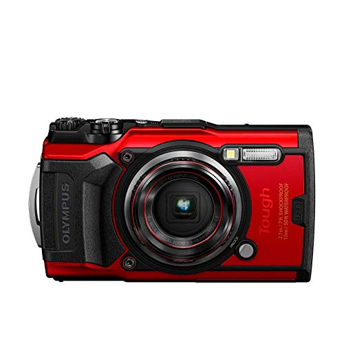 Olympus Tough TG-6 Actionkamera, 12 Megapixel Sensor, digitale Bildstabilisierung, 4x-Weitwinkel-Zoom, 4k-Video, 120fps, Wi-Fi, rot