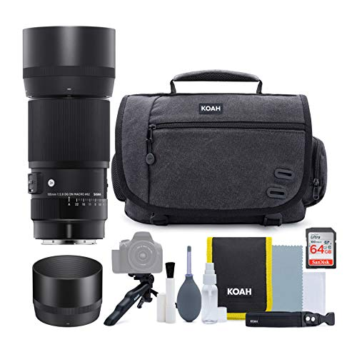 Sigma 105mm f/2.8 DG DN Macro Art Lens for Sony E with 64GB SD Card and Koah Messenger Camera Bag Advanced Holiday Bundle (4 Items)