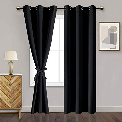 DWCN Black Blackout Curtains for Bedroom with Tiebacks - Thermal Insulated Light Blocking Grommet Window Curtains for Living Room, 42 x 84 inches Long, Set of 2 Panels