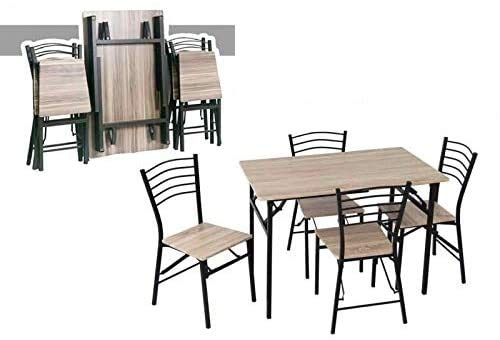 WEBMARKETPOINT Lot table avec chaises en bois – Orme pliante 70 x 110 cm