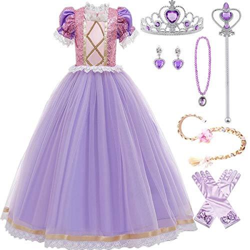EMIN Rapunzel Disfraz Princesa Vestido de Fiesta niña de Di
