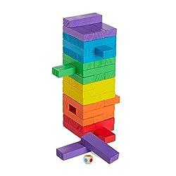 Relaxdays, bunt Holz Wackelturm, 48 Bausteine zum Stapeln, Würfel, für Kinder ab 3 Jahren, Geschicklichkeit, Stapelturm, Standard