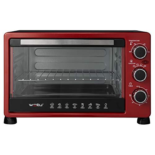 WOLTU BF11rsz Mini Backofen 25 Liter, 1400 Watt Toasterofen | Pizzaofen | Krümelblech mit Timer Minibackofen für Pizza, Toast, Truthahn, Hot Dogs Rot+Schwarz