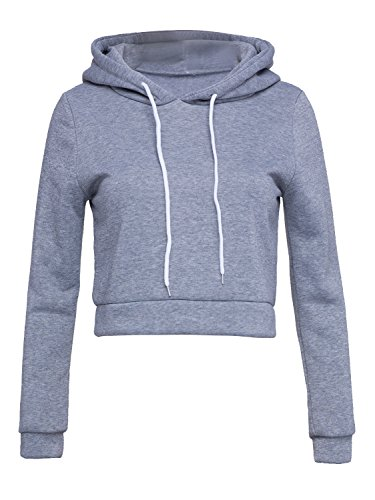 Choies Women Light Gray Hooded Top Sweatshirt Drawstring Cropped Pullover Hoodie S