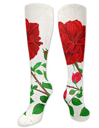 akingstore Calcetines hasta la rodilla Rosas románticas rojas Medias de compresión hasta la rodilla Calcetines deportivos Calcetines de regalo personalizados para hombres Mujeres Adolescentes Niñas