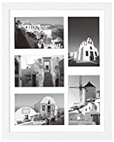 11x14 White Wooden Frame with White Mat - Displays Five 4x6 Photos - Real Glass, Sawtooth Hangers, Flexible Metal Tabs - Wall Mounting, Landscape, Portrait [並行輸入品]