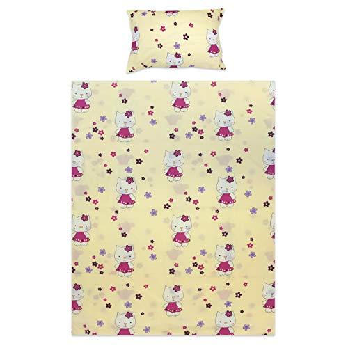 BlueberryShop Literie pour enfants | Housse couverture 120 x 90 cm | Housse oreiller 40 x 60 cm | Pour enfants 0-7 ans | Crème Kitty